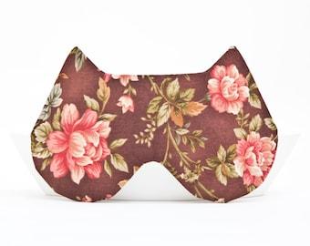 Cat Sleep Mask, Travel gifts for Women, Cat Lover Gift, Dorm Decor, Flowers Mask, bridesmaid gift, Girlfriend Gift, Cat Mask School Supplies