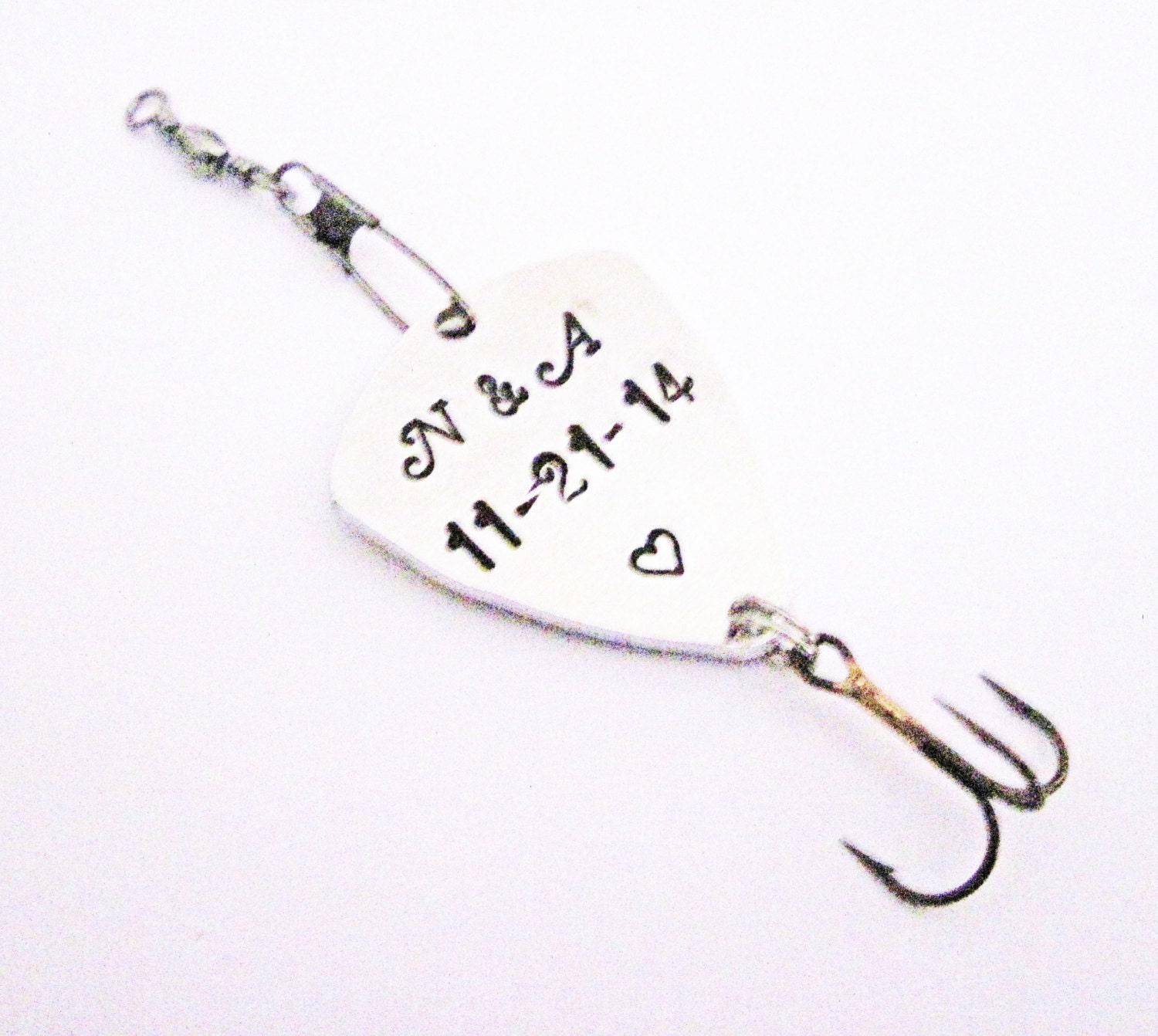 Personalized fishing lure handstamped silver custom message for Personalized fishing lures