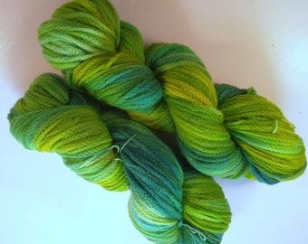 Green Anemone on Chain DK SW Merino Hand dyed DK weight  yarn