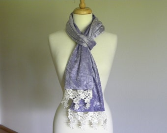 Lilac Purple Crushed Silk Velvet Scarf with High Quality Decorative Lace, Periwinkle Purple Long Velvet Scarf, Crushed Velvet, Never Worn