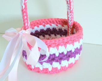 Nursey storage Basket, Baby Girl's first Crocheted Keepsake Basket in Pink, Purple and White with White and Pink Satin Bow