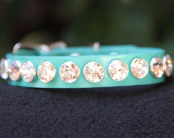 ZOEY II:  Beautiful Blue Dog Collar with Swarovski Crystals
