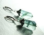 Green Fluorite earrings, Sterling Silver, fine earrings with green-blue gemstone, original artisan earrings, holiday gift for her, ER2711