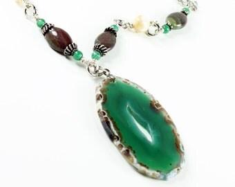 Green-Brown Agate Necklace, Silver Necklace, multi stone artisan necklace, natural semiprecious stones, jasper, shell, aventurine, NL2333