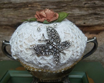 Shabby Romantic Pin cushion, Silver Sugar Bowl Pincushion, Vintage Victorian Doily Pincushion, Upcycled Sewing Accessory