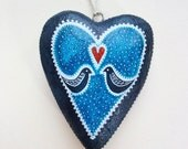 Wooden Chunky Hanging Heart Decoration. SALE