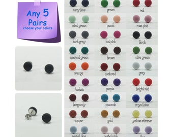 Any 5 Pairs - 7mm Matte Stud Earrings - Choose Your Colors - Small Matte Earrings - Matte Studs - Mens Stud Earrings - Mens Earrings