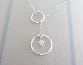 Custom Birthstone Sterling Silver Circle Necklace, Silver Circle Lariat Necklace, Swarovski Crystal, Birthstone Necklace, Infinity Ring