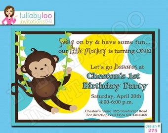 Monkey Birthday Invitations - Printed Invitations - Custom Invitations