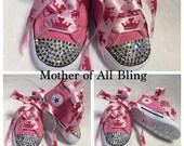 Swarovski Crystal Newborn Infant Converse Hi-Top Shoes