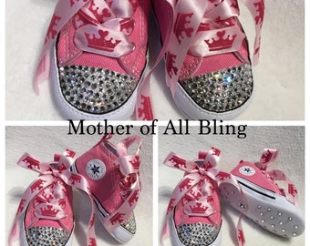Swarovski Crystal Newborn Infant Converse Hi-Top Shoes