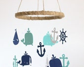 Rustic Burlap Nautical Nursery Mobile in Navy, Aqua & White-Baby Mobile, Crib Mobile, Baby Shower Gift