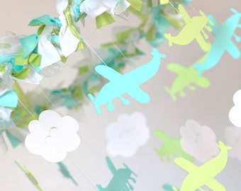 Airplane Cloud Nursery Mobile in Aqua, Green, White- Baby Shower Gift, Photographer Prop