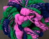 Handspun Yarn: Coil Spun in Pink, Blue and Green Merino