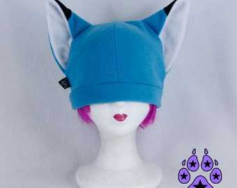 Pawstar BASIC FOX HAT Fleece Beanie Turquoise Teal Blue Green Lime Purple kitsune furry cosplay anime spice wolf Ski snowboard naruto 1320