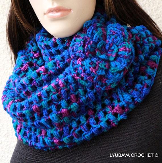 Easy Crochet Flower Scarf Pattern : CROCHET PATTERN Infinity Scarf Circle Scarf by LyubavaCrochet