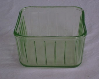 Vintage Green Depression Glass Square Refrigerator Box Left Over Container