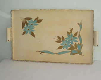 Large Vintage Metal Serving Tray with Turquoise Flowers