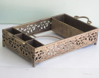 Large Heavy Gold-Tone Metal Serving Tray