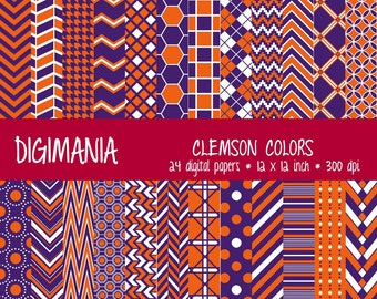 OFF %40 - INSTANT DOWNLOAD - Digital Paper Pack  - Clemson Colours - Burnt Orange and Northwest Purple, White 24 Printable Papers