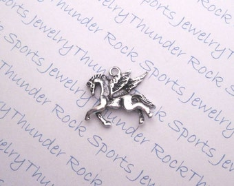10 Antique Silver Pegasus Winged Horse Charms Mythical Animal Pendants
