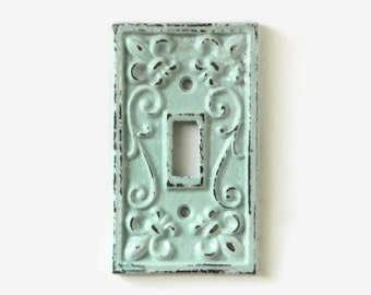Shabby Chic Switchplate Cover, Decorative Light Switch Plate, Paris Flea Market Style, Robins Egg Blue Nursery, Modern Rustic Fixture