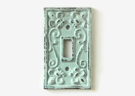 shabby chic switchplate cover decorative light switch plate paris flea market style robins - Decorative Switch Plate Covers