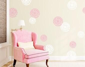 Mum Flowers Vinyl Wall Decal - Flower Wall Sticker, Nature Wall Decal, Spring Wall Decor, Living Room Wall Decal, Mum Flower Decal