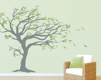 Tree Blowing in the Wind - Vinyl Wall Decal, Tree Wall Sticker, Nature Wall Decal, Living Room Art, Nursery Tree Sticker, Windy Tree
