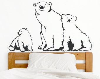 Polar Bear Family - Vinyl Wall Decal, Polar Bear Decal, Polar Bear Art, Bear Decal, Polar Bear Nursery, Polar Bear Baby, Winter Wall Decor