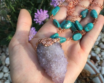 OOAK SPIRIT QUARTZ electroformed with partial genuine turquoise chain