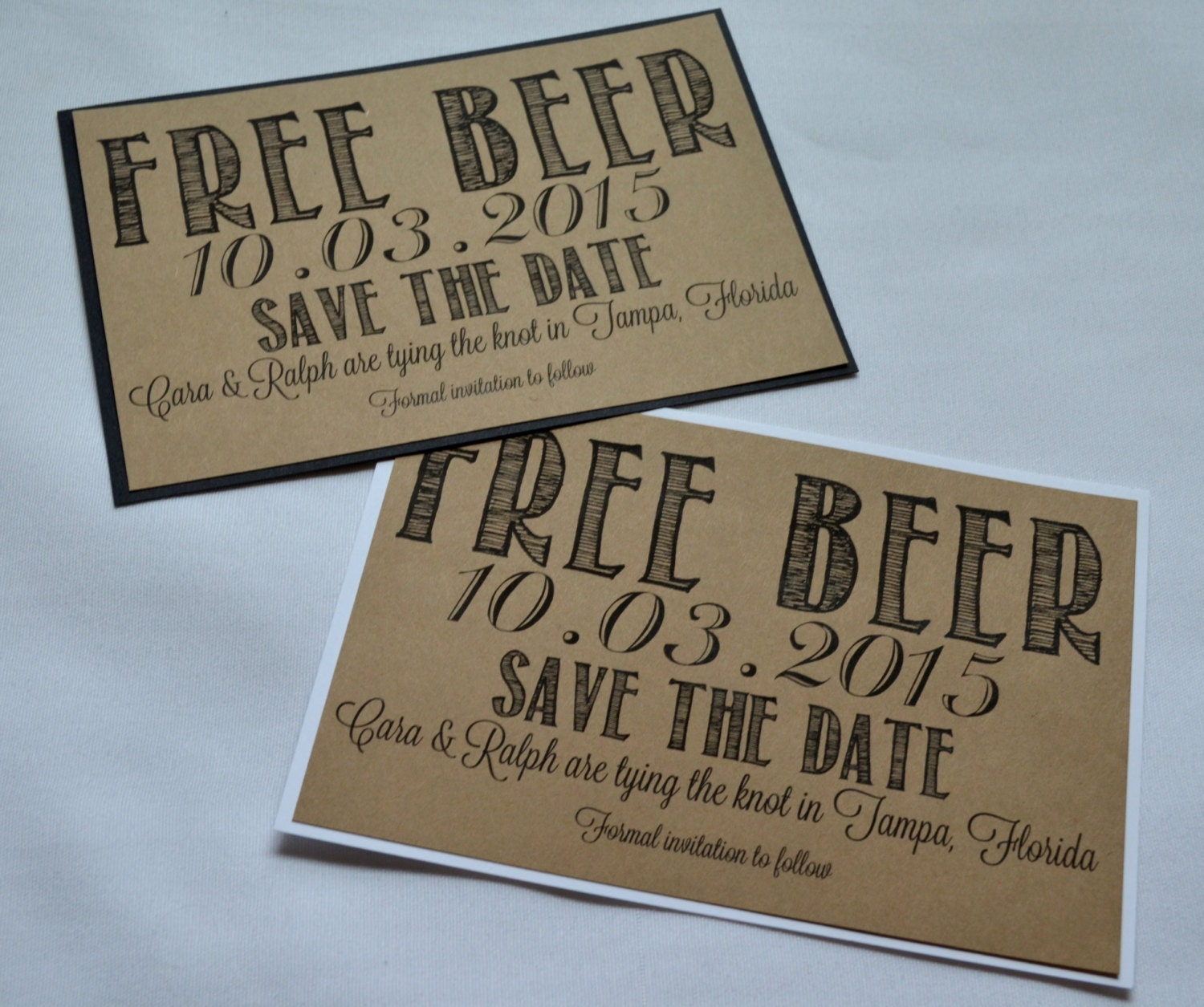 Free Beer Save the Date Cards funny kraft rustic save-the-date