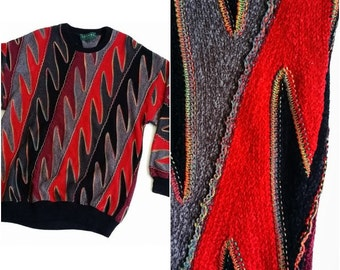 COOGI Style Sweater / Vintage Cosby Sweater / Size L 80s 90s Colorful Hip Hop Fresh Prince Sweater / Made in Canada