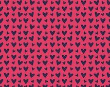Adhesive Fabric - 12x12 ad-fab - Heart Fabric - Cotton Fabric - DIY Fabric - Navy Adhesive Fabric - Camelot Fabrics