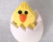 Polymer Clay Easter Novelty Pin/Brooch - Chick Hatching out of Egg