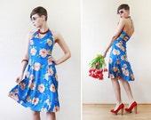 Blue floral low back halter neck bustier dress S