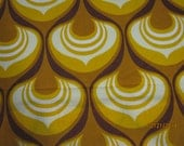 Retro Funky 70's Pantone like print- Vintage mid-century fabric in yellow mustard and gold- cotton