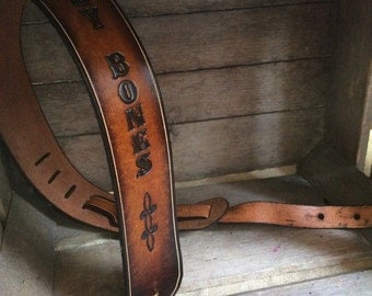 Great  gift Personalized Leather Guitar strap with tooling and pinstripe in 2 tone color