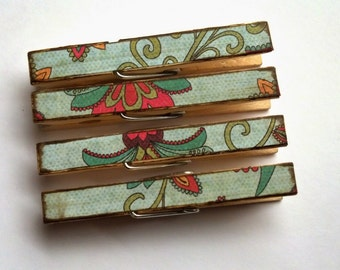 Decoupage Clothespins Blossom Floral theme  set of 10