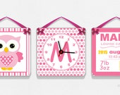 personalized girls bedroom set 3 birth announcement signs with clock - owls stripes dots pink baby shower newborn announcement gift - R12