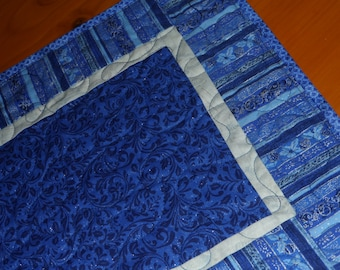 Blue holiday table topper, Blue and silver table runner, Holiday decor
