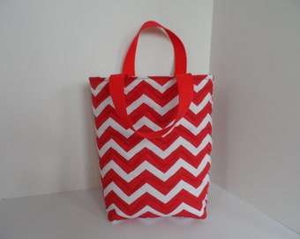 Red chevron tote bag,  use as a knitting bag, book bag, kids tote or lunch bag, handmade item