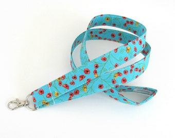 Poppy Fabric Lanyards ID Badge Holder, Red Poppies, Aqua Turquoise Lanyard, Yellow Flowers - Ready to Ship OvationStudio
