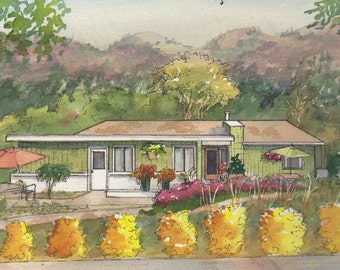 Watercolor House Portraits  painting of your home from photos, custom gift, architectural watercolor sketch of your home or business