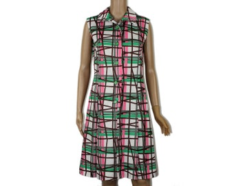 Mod Shirt Dress - Psychedelic SHIRTDRESS Grid Pattern MOD DRESS Button Down Style 1970s 70s Hippie Day Dress Lines Abstract Pink M Medium