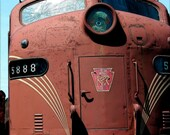 "Fine Art Train Photography Antique Red Engine ""Train""  8x12"