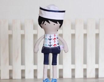 Handmade Boy Cloth Doll Sailor Boy Rag Doll Fashion Doll Soft Boy Doll with Clothes - sailor hat - MADE TO ORDER