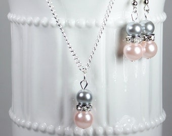 Bridesmaid Pearl Blush Pink and Gray Jewelry Set, Pearl Necklace, Pearl Earrings, Bridesmaid Jewelry, Bridesmaid Gift, Pick Your Own Color