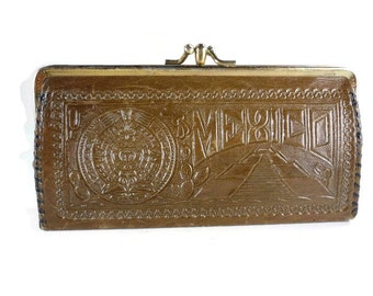 Vintage Tooled Leather Clutch with Kiss Lock Brown