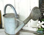 Vintage 1900s Rare Spigot Rose English French Country Farmhouse Zinc, Tin or Aluminum Industrial Metal Garden Flower Watering Can Primitive